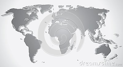 3D World Map Silhouette. Vector Graphics