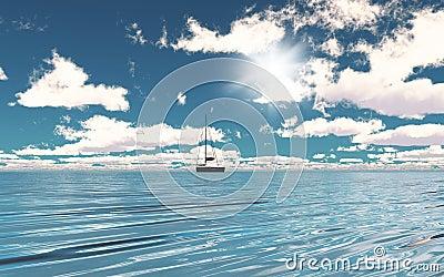 3D yacht on the ocean Stock Photo