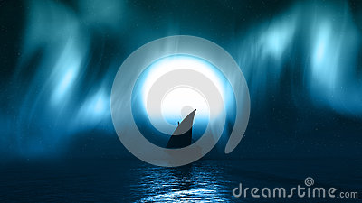 3D yacht on sea with aurelia borealis in the sky Stock Photo