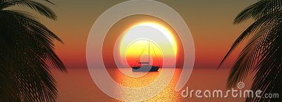 3D yacht on a sunset ocean Stock Photo