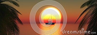 3D yacht on a sunset ocean Stock Photo