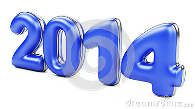 3D 2014 year blue figures with golden edging