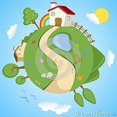 Día de primavera en la tierra del planeta
