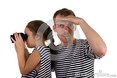 Dad, daughter, binoculars
