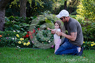 Dad and daughter  garden play