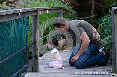 Dad and daughter nature study