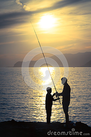 Dad and fishing teacher
