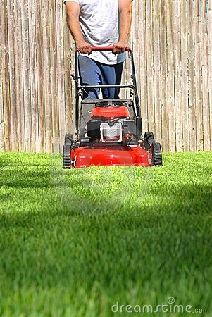 Dad Mowing Yard