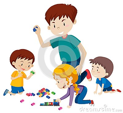 Free Dad Playing Blocks With His Children Royalty Free Stock Photography - 124391457