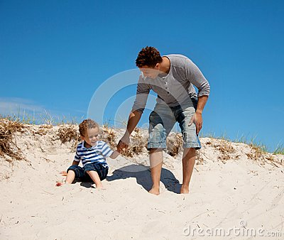 Dad and Son Enjoying and Having Fun