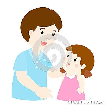 Free Dad Talk To His Daughter Gently Cartoon Stock Photos - 64676273