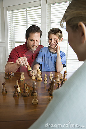 Free Dad Teaching Chess To Son. Royalty Free Stock Photo - 2051645