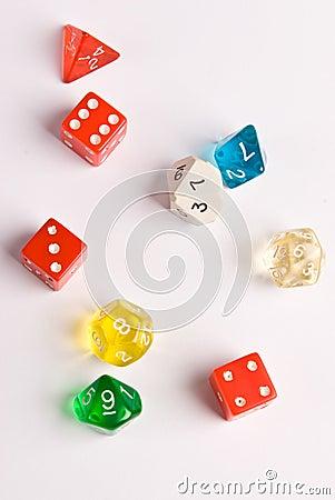 Dados do estilo do jogo do papel