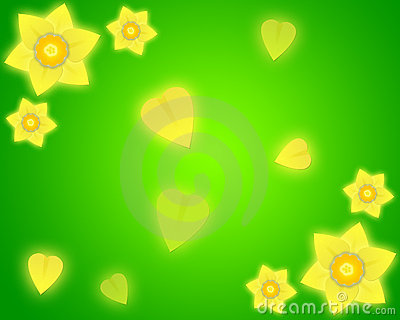 Daffodil green background