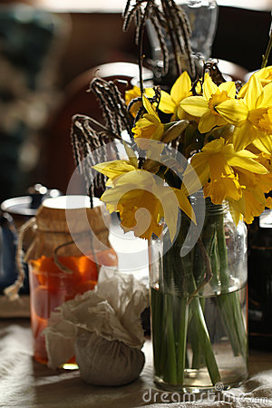 Daffodils in retro interior