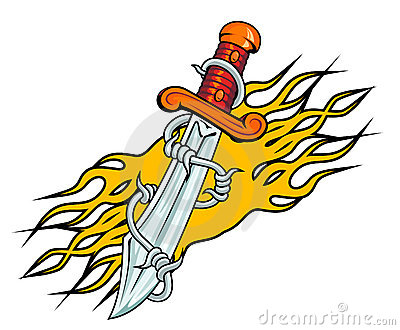 Dagger with barbed wire and flames