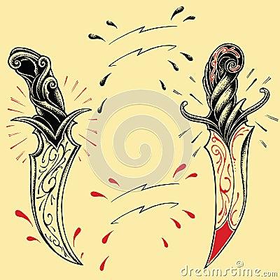 Free Daggers Oldskool Tattoo Style 01 Stock Images - 36327024