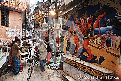 Dagligt liv av Varanasi folk Redaktionell Arkivfoto