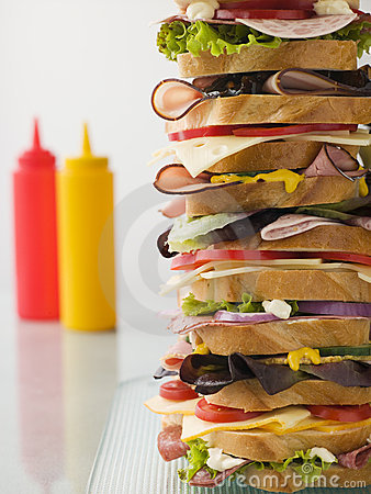 Free Dagwood Tower Sandwich With Sauces Royalty Free Stock Images - 5576389