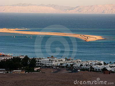 Dahab s spit and distant mountains