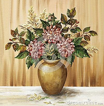 Dahlias in a clay pot