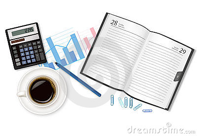 Dairy-book, cup of coffee and office supplies.