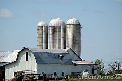 Dairy farm with silos