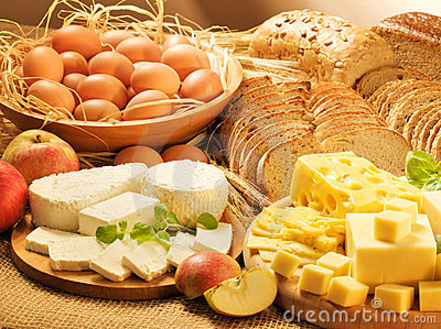 Dairy food, eggs, chees, breads and apples