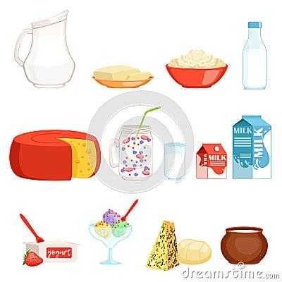 Free Dairy Products Set, Milk, Butter, Cheese, Yogurt, Sour Cream, Ice Cream Vector Illustrations Stock Photo - 101459730