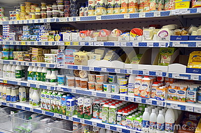 Dairy products in the store