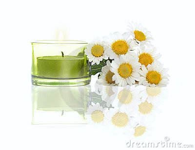 Daisies and candle