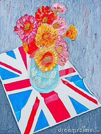 Daisies on Union Jack flag