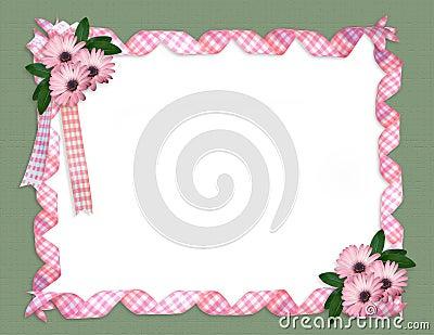 Daisy border Pink ribbons