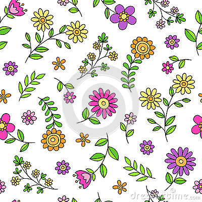 Daisy Flower Doodles Seamless Pattern Vector