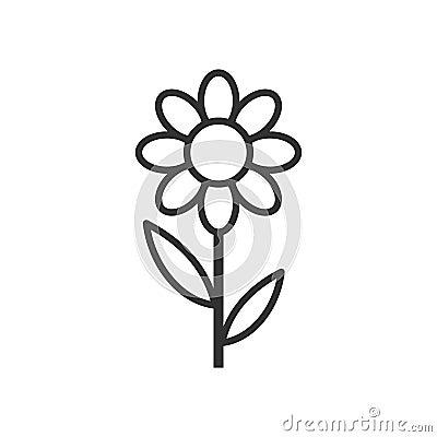Daisy Flower Outline Flat Icon on White Vector Illustration