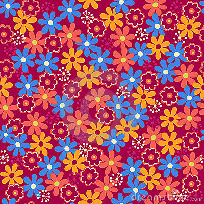 Daisy Flowers Seamless Repeat Pattern Vector