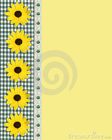 Daisy spring border green gingham
