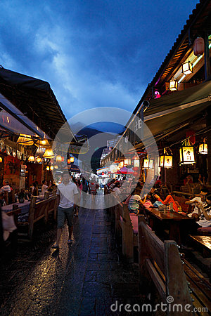Dali old town Street Night scene Editorial Stock Photo