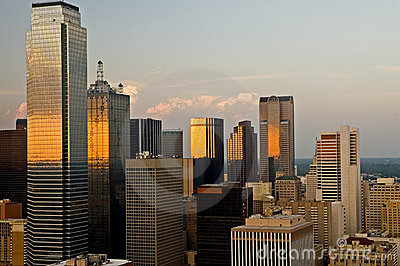 Dallas City Skyline in Evening