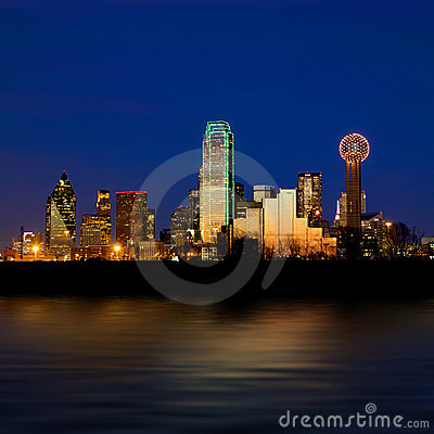 Dallas city skyline at night shot over the Trinity