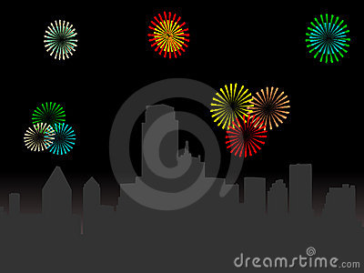 Dallas Skyline with fireworks