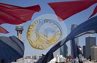 Dallas skyline and  waving city flag