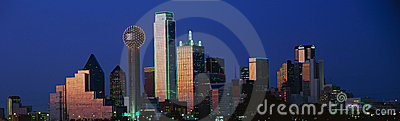 Dallas, TX skyline at dusk Editorial Photography