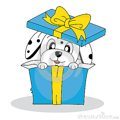 Dalmatian dog out of a gift box