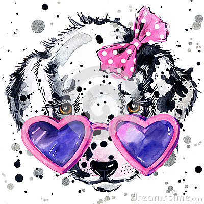 Free Dalmatian Puppy Dog T-shirt Graphics. Puppy Dog Illustration With Splash Watercolor Textured Background. Unusual Illustration Wat Royalty Free Stock Images - 56389529