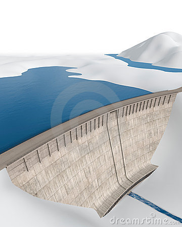Dam in an abstract landscape