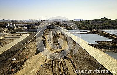 A dam being built