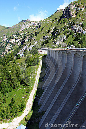 Dam of Fedaia Reservoir in the Italian Dolomites