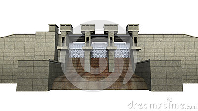 Dam Isolated on White Background