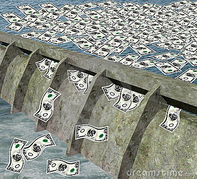 Dam with money flowing